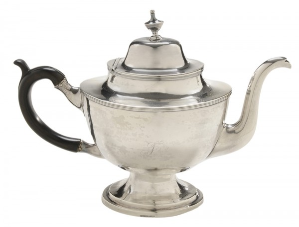Sold to an important local collection. This tea pot was made by John LeTellier in Richmond for the Daniel family of Crow's Nest, Stafford County.