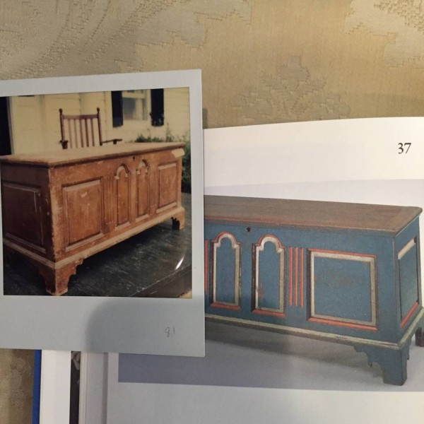 A rare Eastern Shore of Virginia paneled chest. Now at the Museum of Early Southern Decorative Arts. MESDA removed the later paint and restored the original colors.