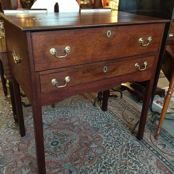An interesting and possibly unique mahogany desk from Eastern Maryland. Sold to the George Washington Fredericksburg Foundation and now on display in Kenmore.