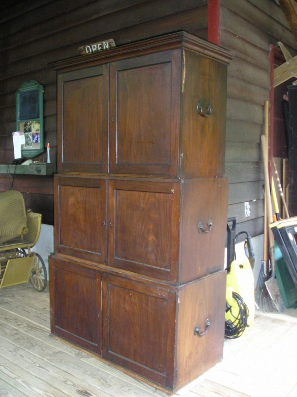 Sold to the Calhoun Mansion, Charleston. From a plantation near Union, South Carolina. Similar to the famous Charleston triple chests. The interior is fitted for documents.
