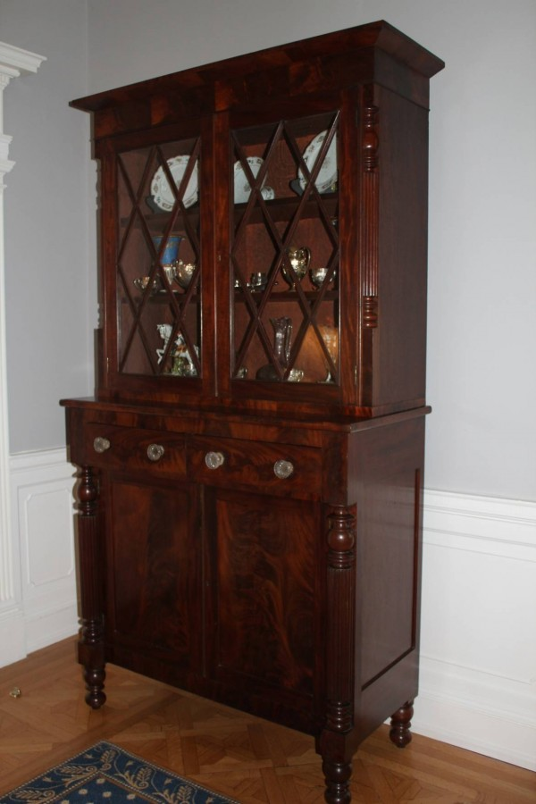 Sold to the Virginia Governor's Mansion. A classical Mahogany bookcase. Ca. 1820. Probably Norfolk, Va.