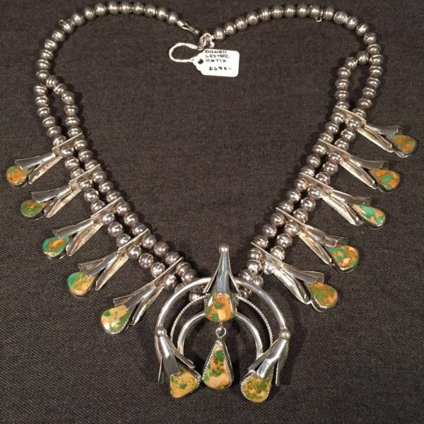 Lester Ortiz Squash Blossom Necklace