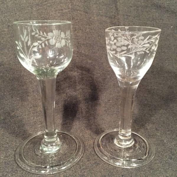 English Engraved Wineglasses