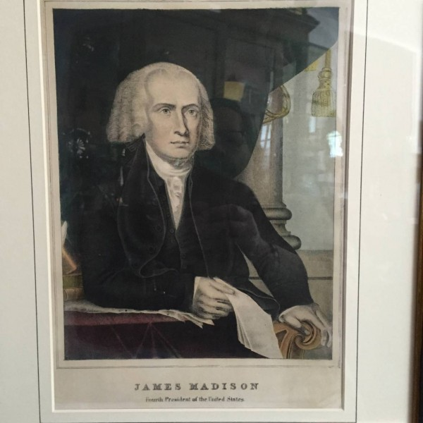 Lithograph Portrait of James Madison