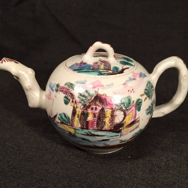 English Enameled Saltglaze Stoneware Teapot
