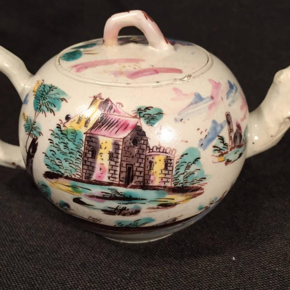 English Enameled Saltglaze Stoneware Teapot Beck S
