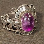 image of Taxco Sterling and Amethyst Broach