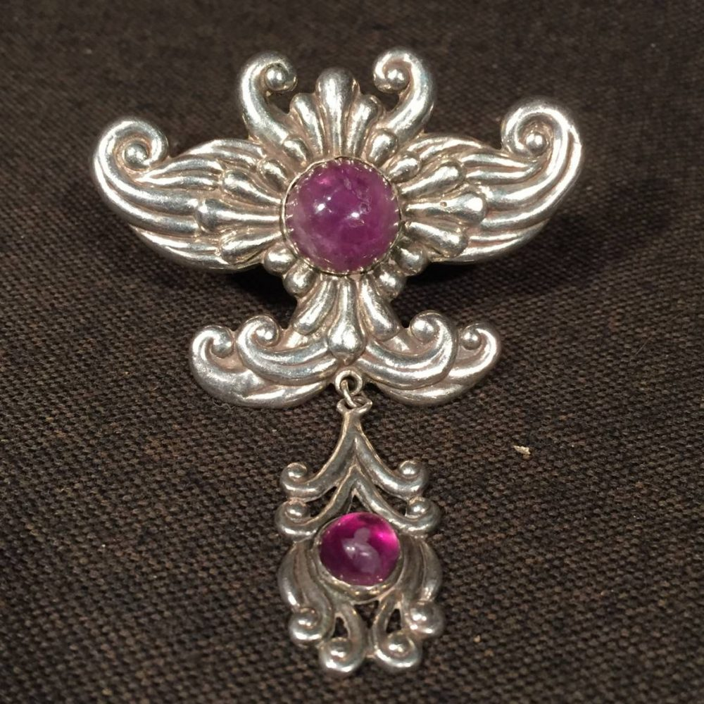 Taxco Sterling and Amethyst Broach