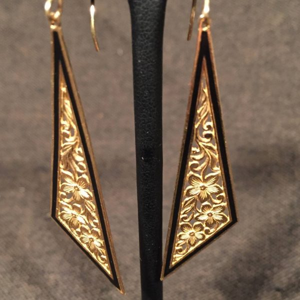 """Artistica"" Gold and Enamel Earrings"