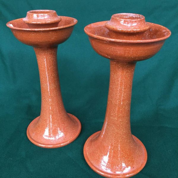 Pair Jugtown Redware Candlesticks