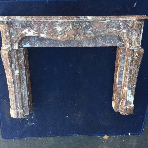 Louis XV Style Rouge Marble Mantle