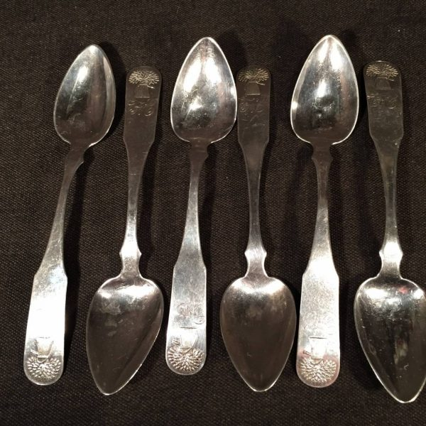 Set of Six Sheaf of Wheat Coin Silver Spoons