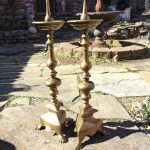 image of Early Dutch Sheet Brass Candlesticks
