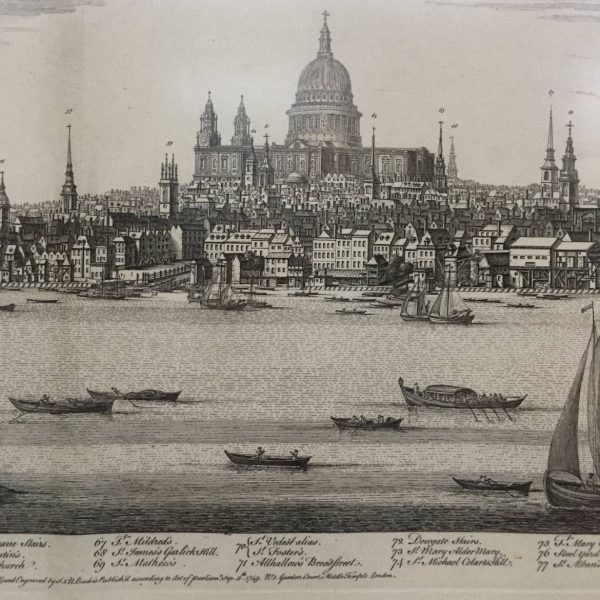 1749 Engraved Panoramic of London by S & N Buck