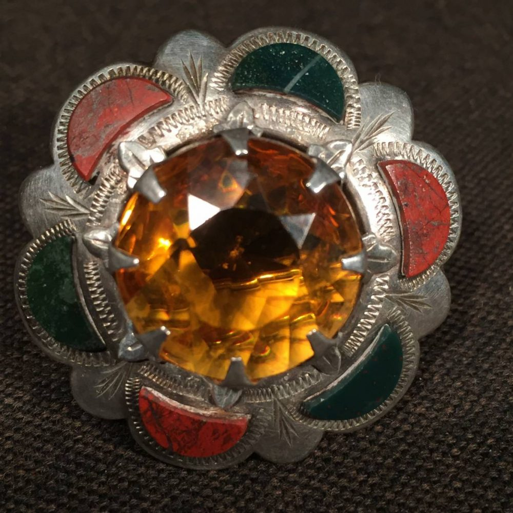 Scottish Style Agate and Citrine Silver Brooch