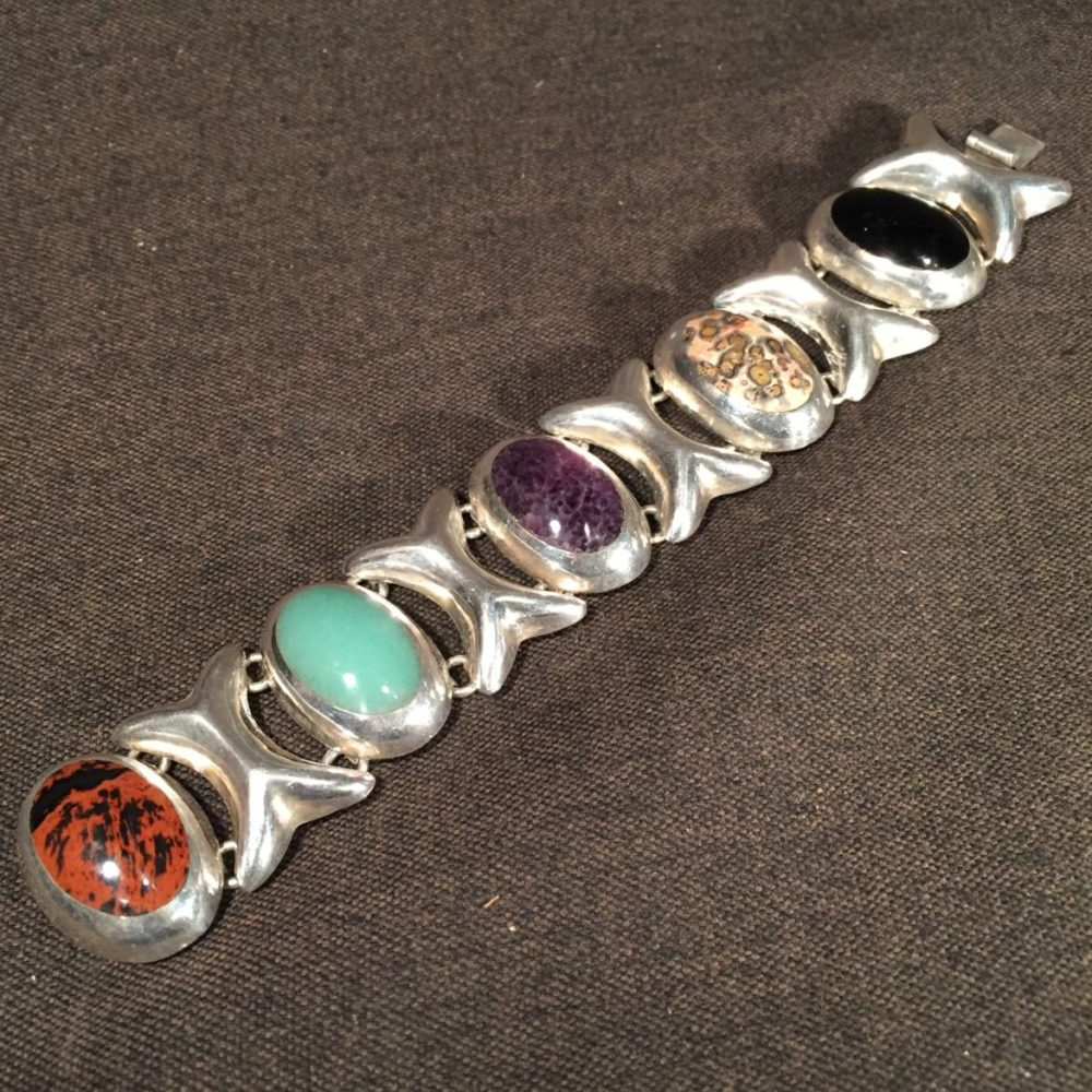 Mexican Sterling Onyx and Agate Bracelet