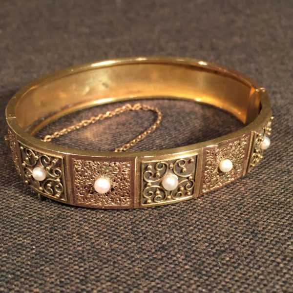 Victorian Rose & Yellow Gold Bangle With Pearls