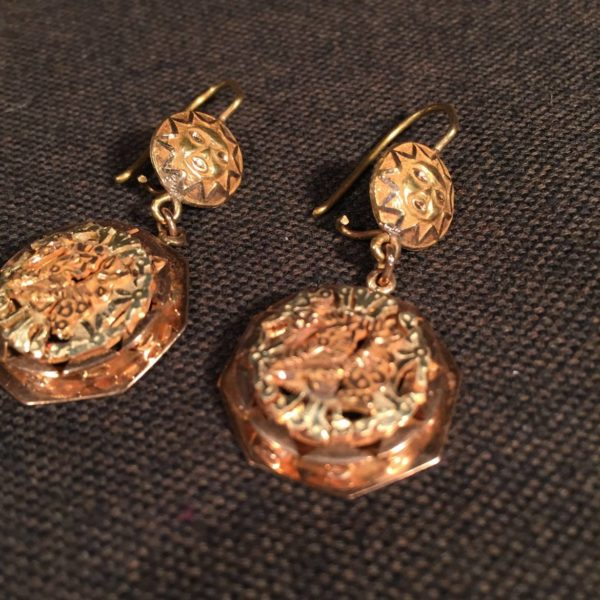 Peruvian Three Color Gold Earrings.