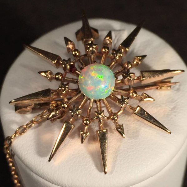 14K Gold and White Opal Pin/Pendant