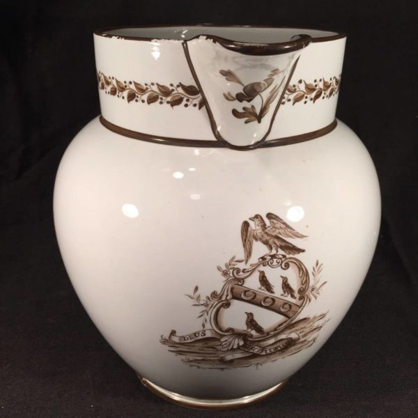 "English Creamware Jug With Coat of Arms: ""Deus Pascitcorvos"""