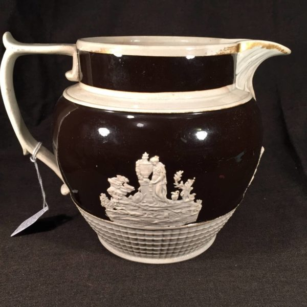 English Pearlware Jug with Applied Moulded Decoration