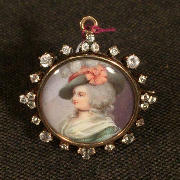 Diamond Mounted Miniature Portrait Set in 14k Gold