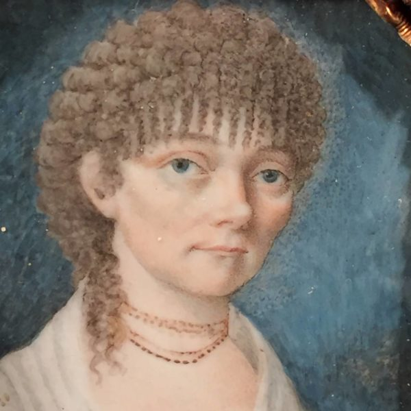 Miniature Portrait of a Young Lady With a Garnet Necklace
