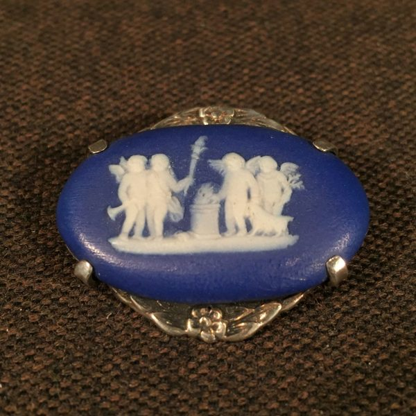 Small Wedgwood Cameo Brooch in Sterling Mount