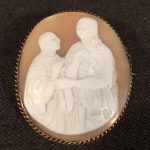 image of Victorian Shell Cameo of a Rustic Farmyard Scene