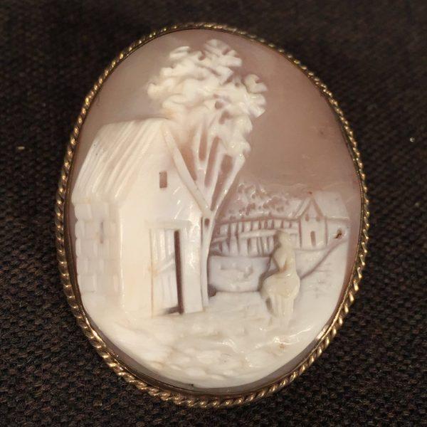 Victorian Shell Cameo of a Rustic Farmyard Scene