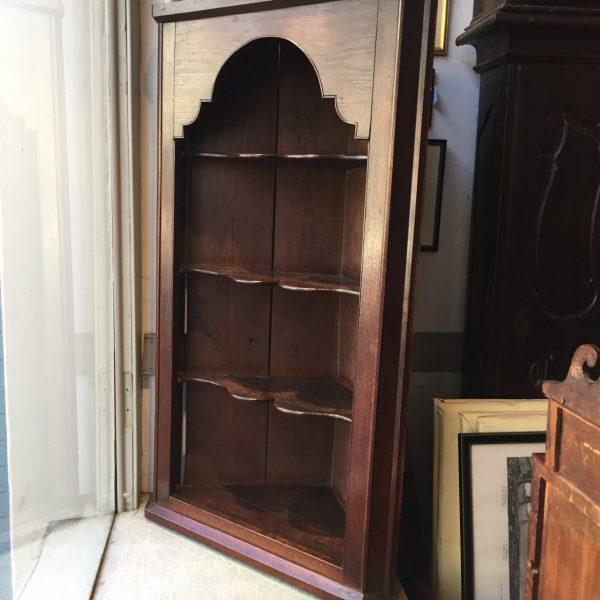 English Dark Oak Hanging Corner Cupboard