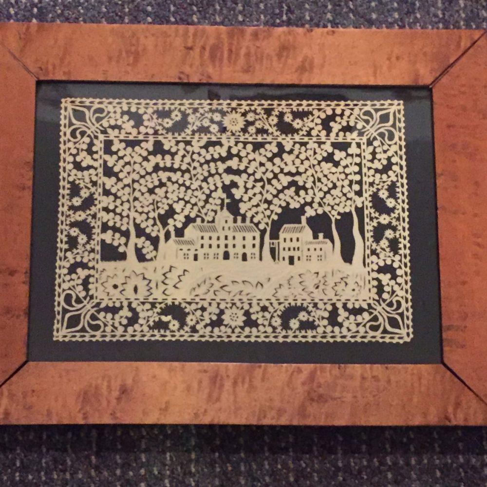 Scherenschnitte [cut paper] Picture in a Maple Frame