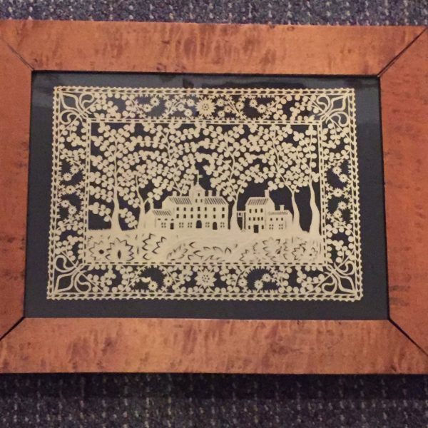 Scherenschnitte [cut paper] Picture in a Maple Frame