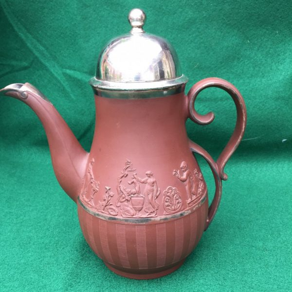 Samuel Hollins Redware Coffee Pot with Make Do Silver Lid