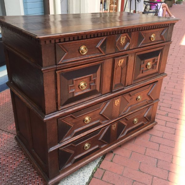 William & Mary Oak and Parcel Ebonized Chest