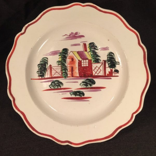 "Creamware ""House"" Design Small Plate"