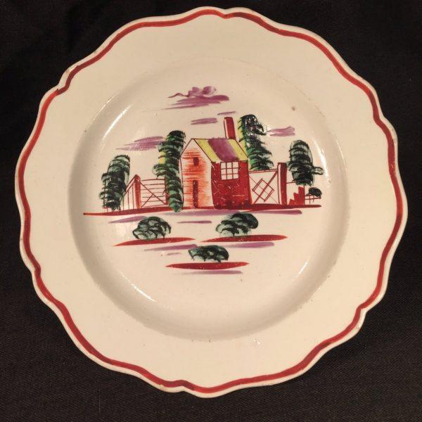 """Creamware """"House"""" Design Small Plate"""
