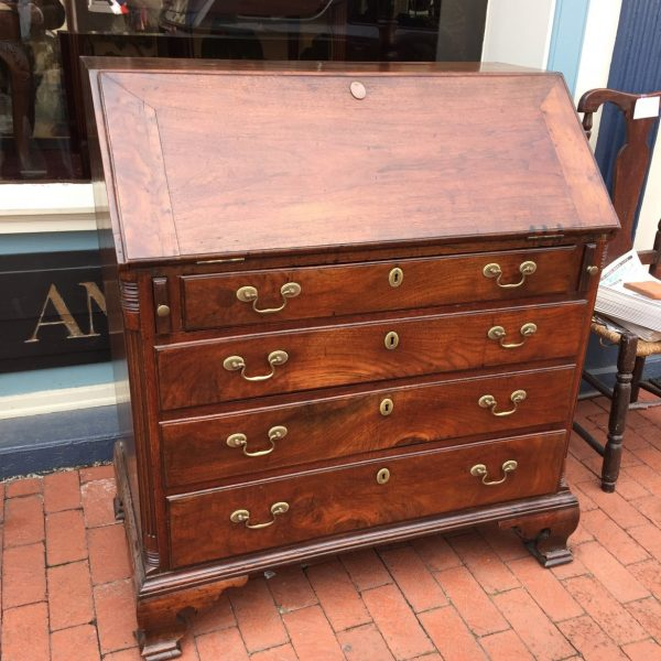 A Virginia walnut slant top desk possibly made in Fredericksburg or further South. Now in a private collection.