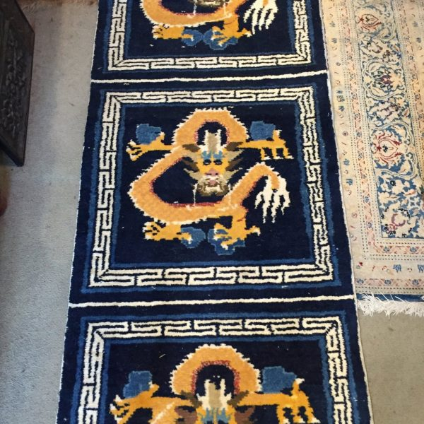 Rare Tibetan Temple Rug with Six Squares