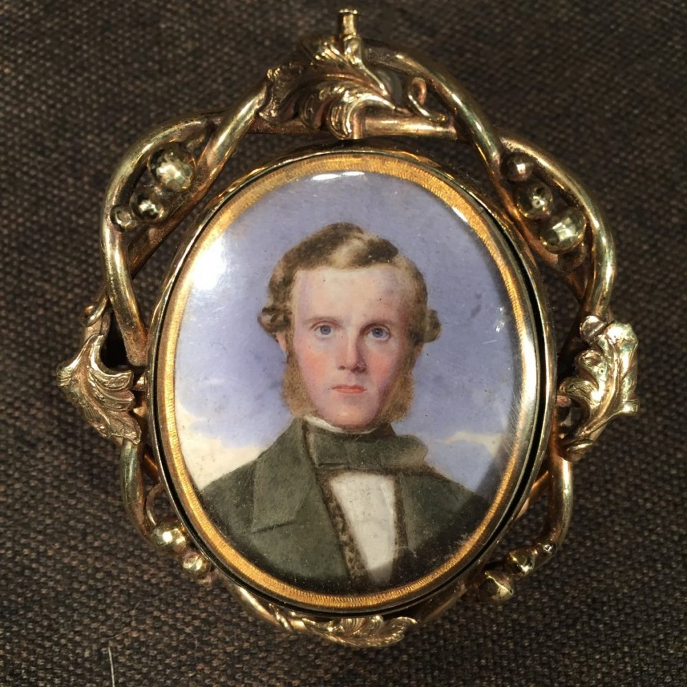 Watercolor Miniature Portrait of a Gentleman in Reversible Frame With His Wife