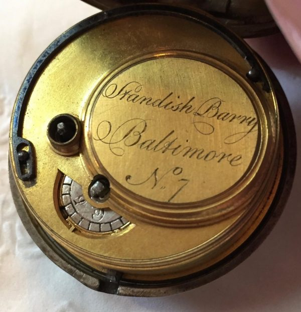 An 18th century silver pocket watch retailed by Standish Barry, the famous Baltimore silversmith. Marked as No. 7 but the only one we know of so far. Sold to Colonial Williamsburg.