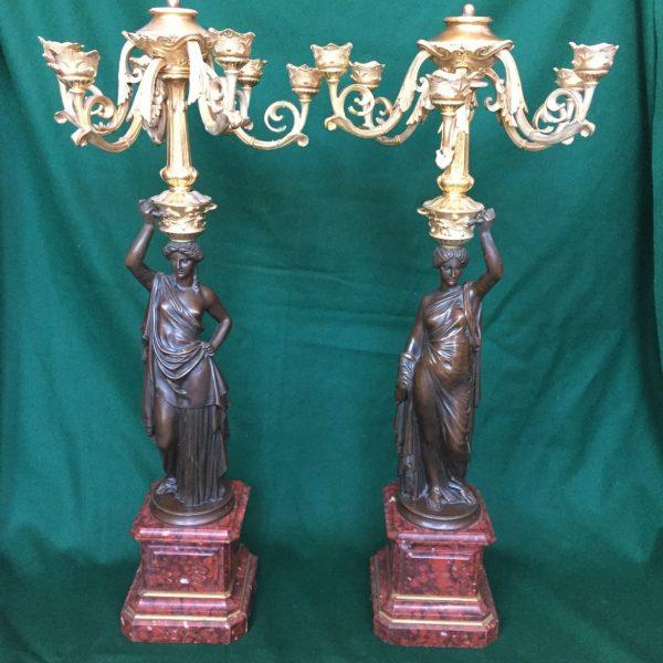 French Bronze Candelabra, L. V. E. Robert, Auguste DeLaFontaine