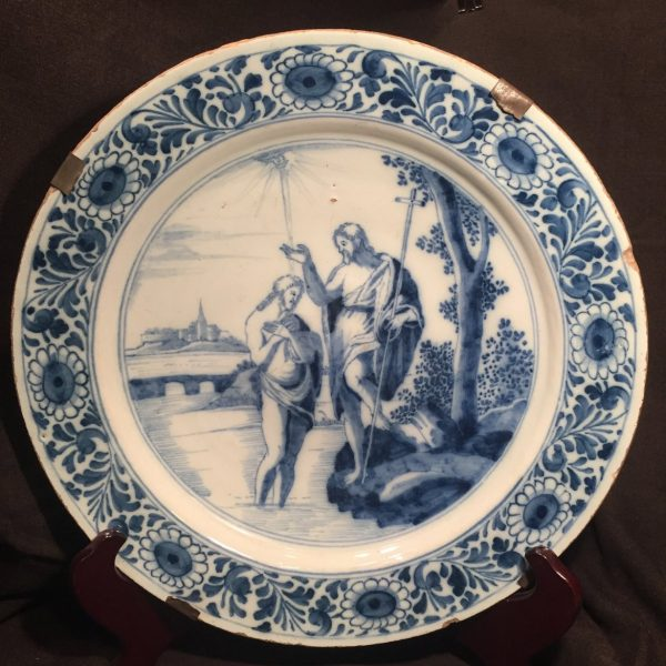 Dutch Delft Charger, The Baptism of Christ