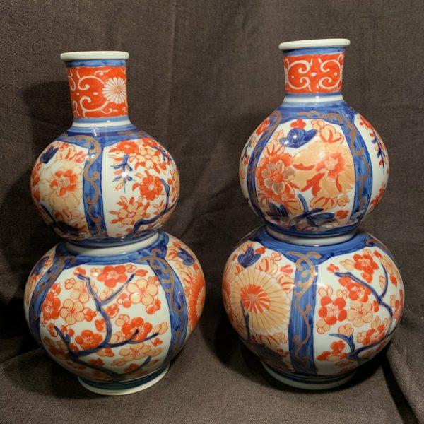 Pair Imari Double Gourd Vases