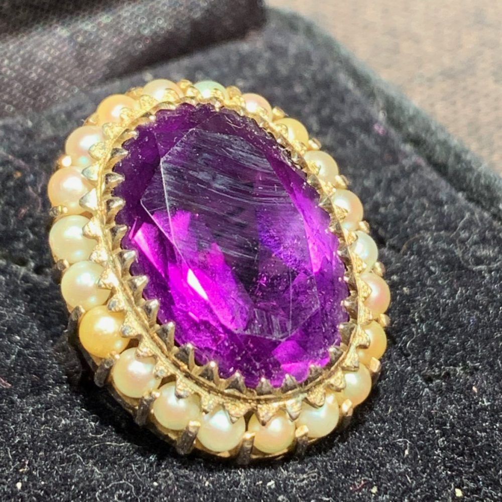 Amethyst and Seed Pearls 14K Ring Size 6.5