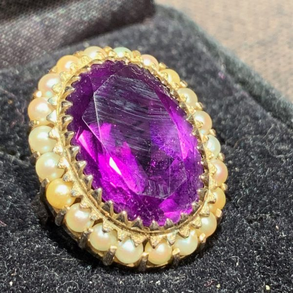 Amethyst and Seed Pearls 14K Ring