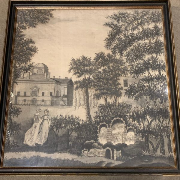 Large Silk Printwork Picture of Chiswick House, Home of the Earl of Burlington