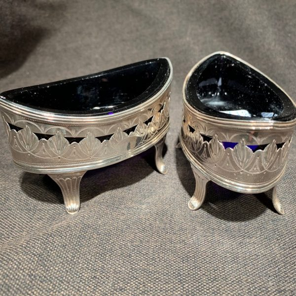 Pair Bateman Sterling Salts With Blue Glass Liners
