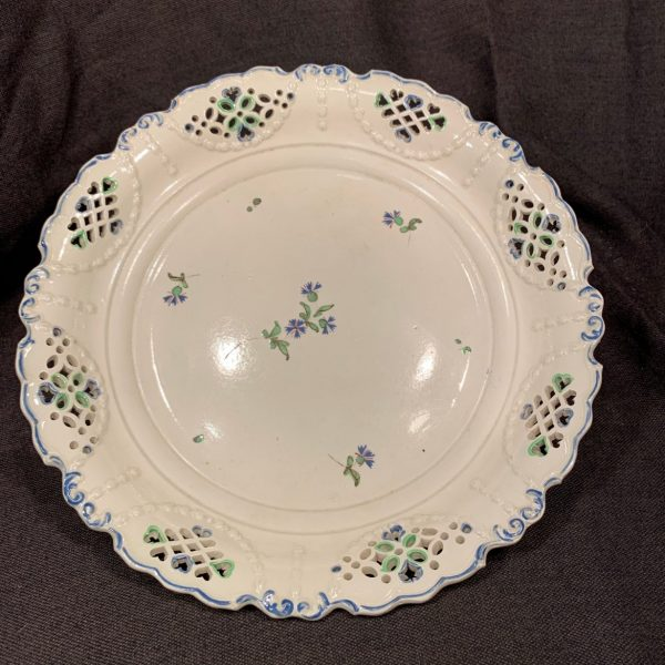 Creamware Deep Dish with Cornflower Decoration, Enoch Wood?