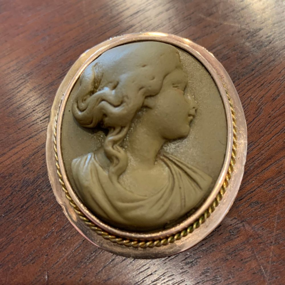High Relief Lava Cameo Set in 12K Gold